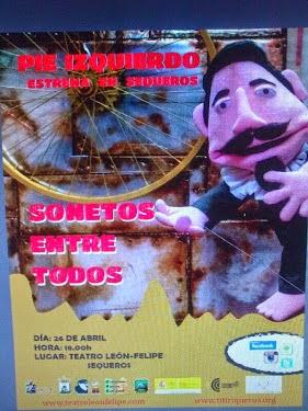 """26/Abril. Teatro de títeres y gran formato: """"Sonetos entre todos"""". Sequeros"""