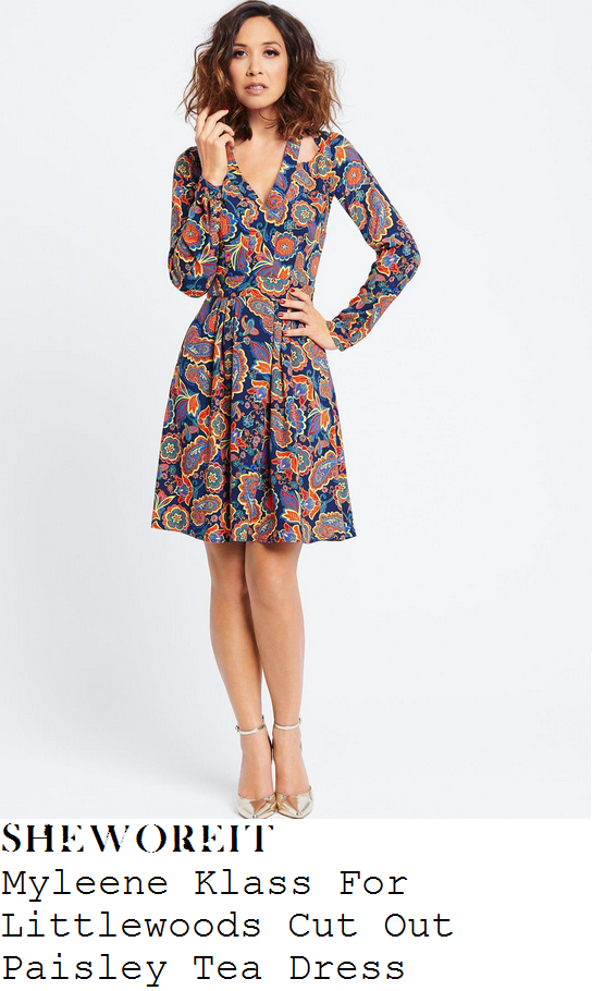 myleene-klass-blue-orange-multi-paisley-print-v-neck-pleated-tea-dress