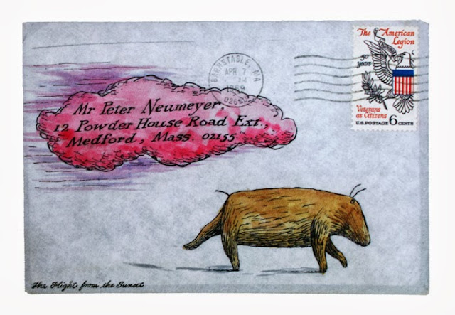 Edward Gorey illustrated envelope
