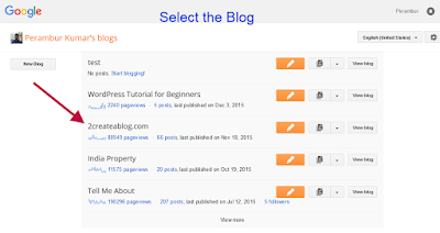 Select the Blog to Add Meta Description - Blogger Tutorial