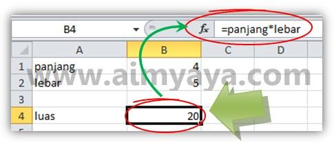 Gambar: Menggunakan nama sel yang baru di buat dalam perhitungan di Microsoft Excel
