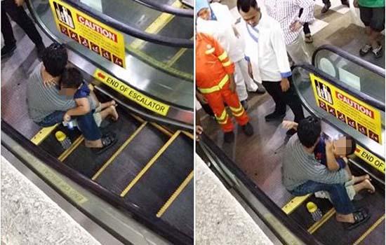 Detik cemas kaki budak tersepit eskalator di Johor