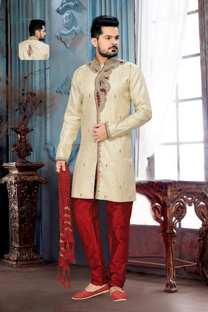 Cream & Maroon Jacquard Art Silk Embroidered IndoWestern