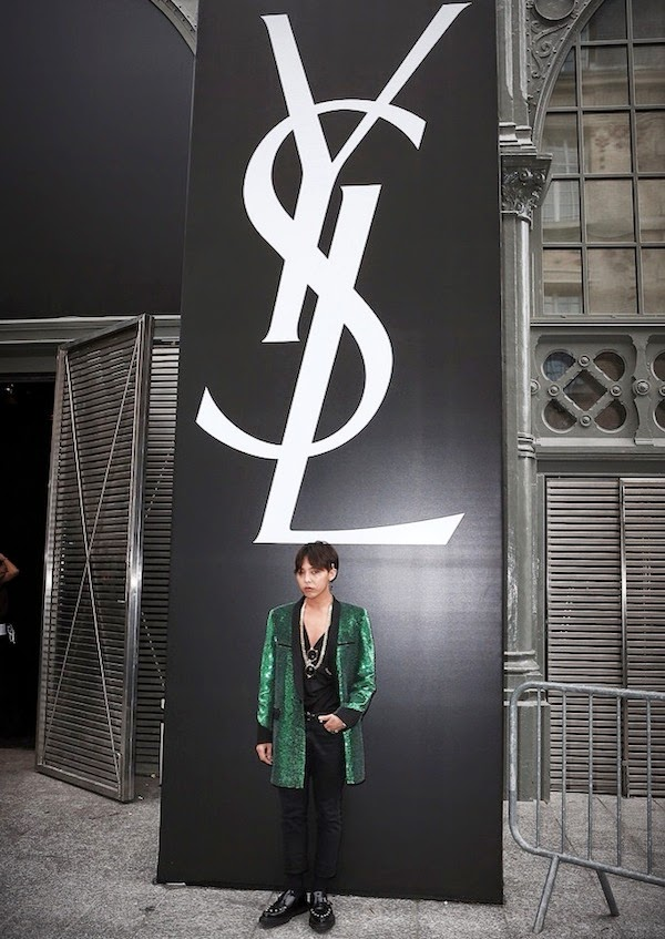 Epic BigBang G Dragon green sequin jacket at Saint Laurent by Hedi Slimane show Paris Fashion Week