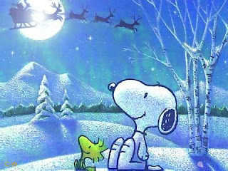 Snoopy seeing Santa Claus and his sleigh in the sky with night moon wallpaper