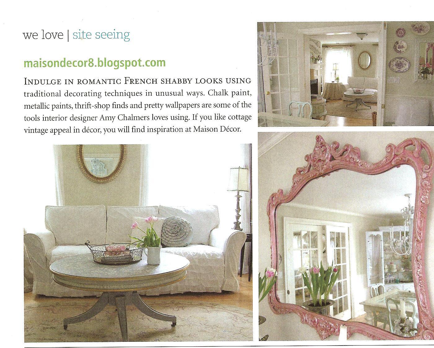 Maison Decor I Am In Romantic Homes Magazine