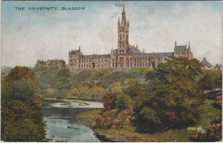 Vintage postcard of the University, Glasgow