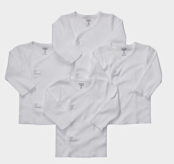 Carter's infant basic : just one year white kimino color short & long sleeves @ 8 RM ( Restock)