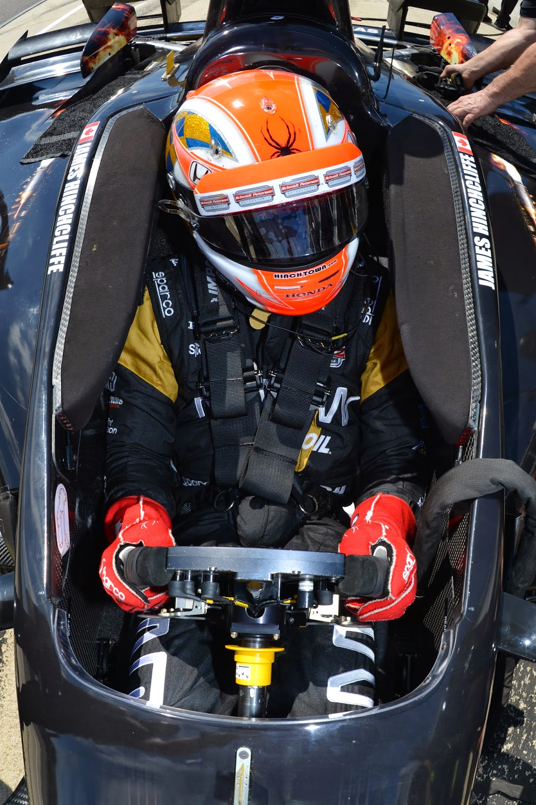 James Hinchcliffe is strapped into his Schmidt Peterson Motorsports Honda on pit lane during Tuesday's Open Test sessions at Barber Motorsports Park