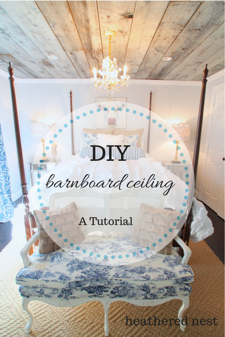 Guest room after shot with barnboard ceiling tutorial link