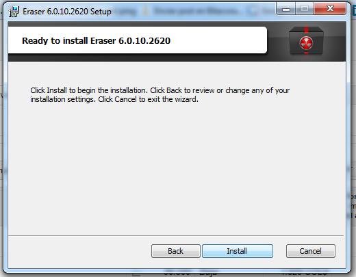 Clic en install para ejecutar la instalación