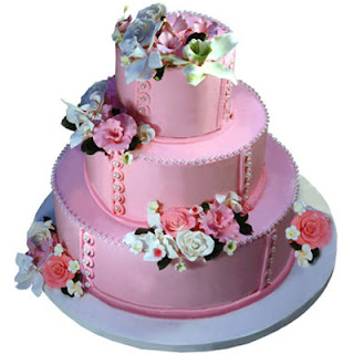 Three-Tier Pink Pearl Flower Quinceanera Cakes