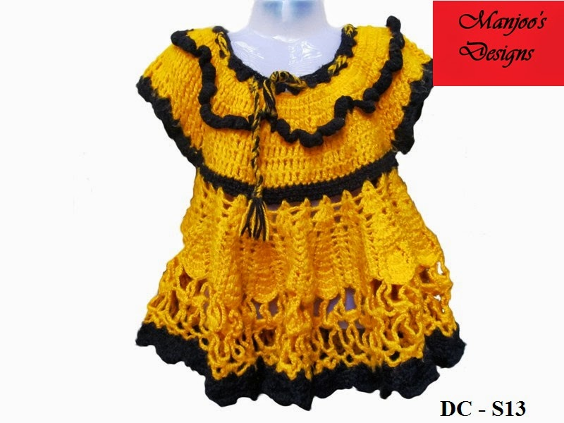 Manjoo S Designs Indian Crochet Baby Frock Sweater Design By