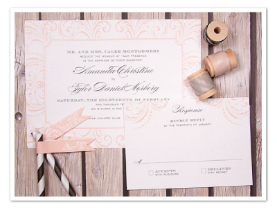flourished printable diy wedding invitation design