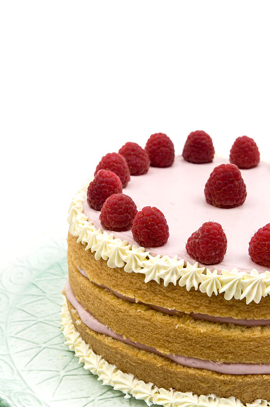 Naked raspberry cake close up part