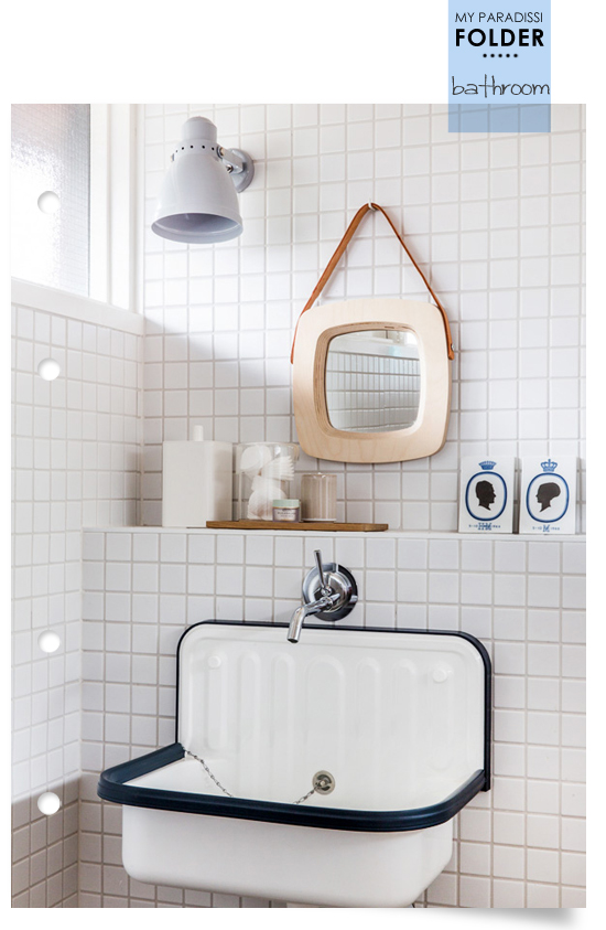 Ideal Wall mounted enamel sink in a modern retro bathroom