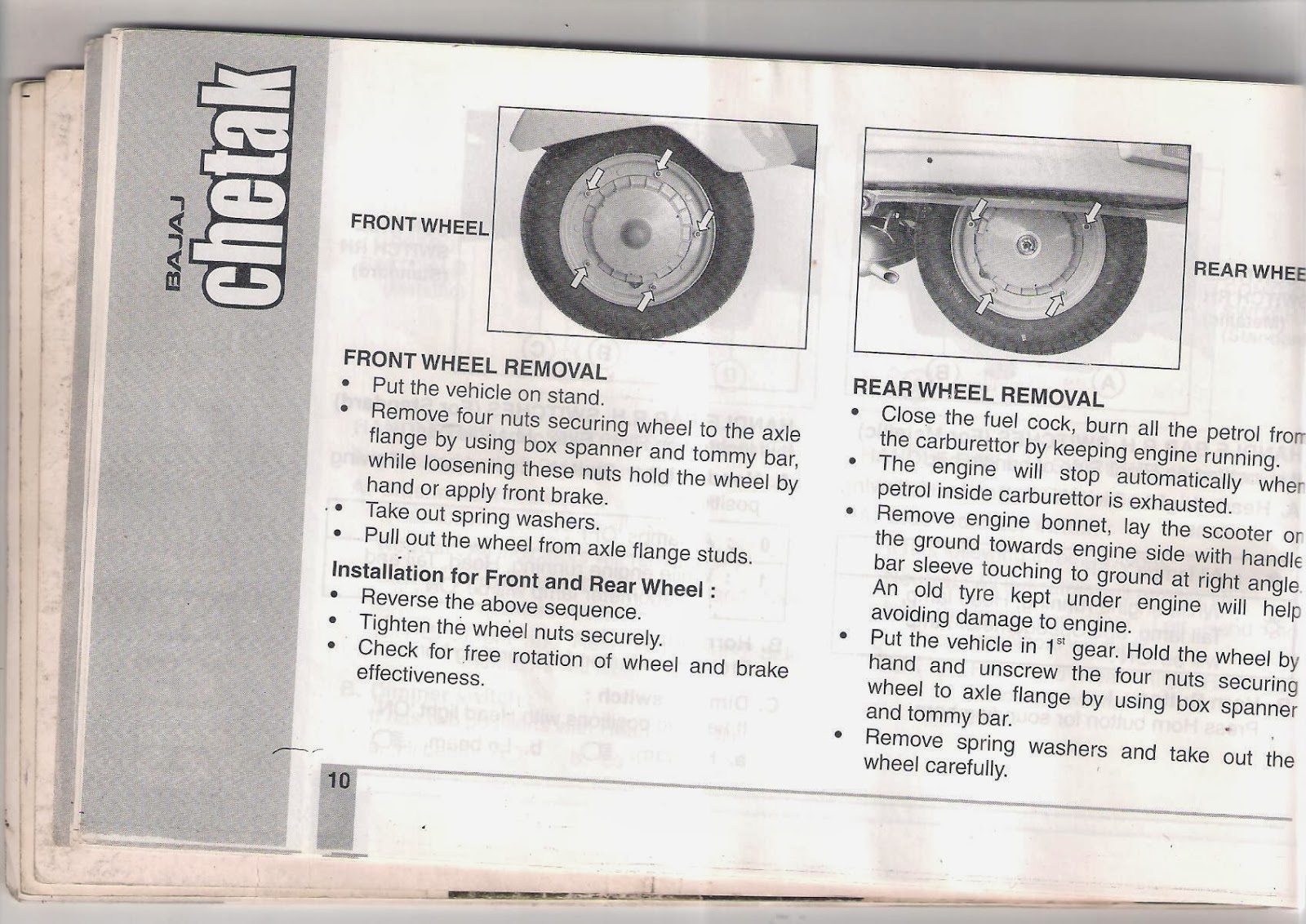 rare motorcycle bajaj chetak 2005 model owners manual. Black Bedroom Furniture Sets. Home Design Ideas