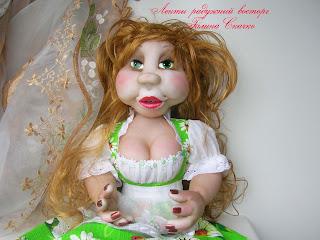 скульптурно-текстильная кукла, чулочная техника,пакетница