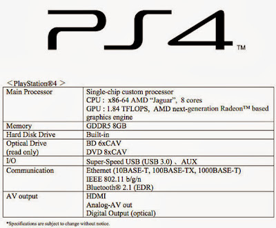 sony ps4 specification and review