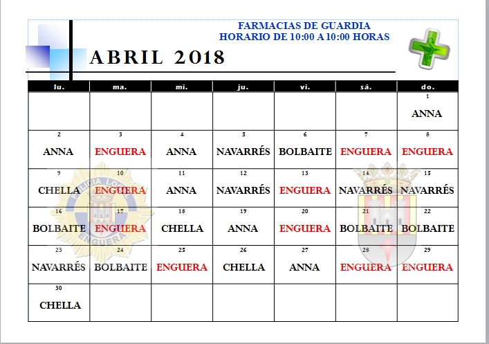 FARMACIAS ABRIL 2018
