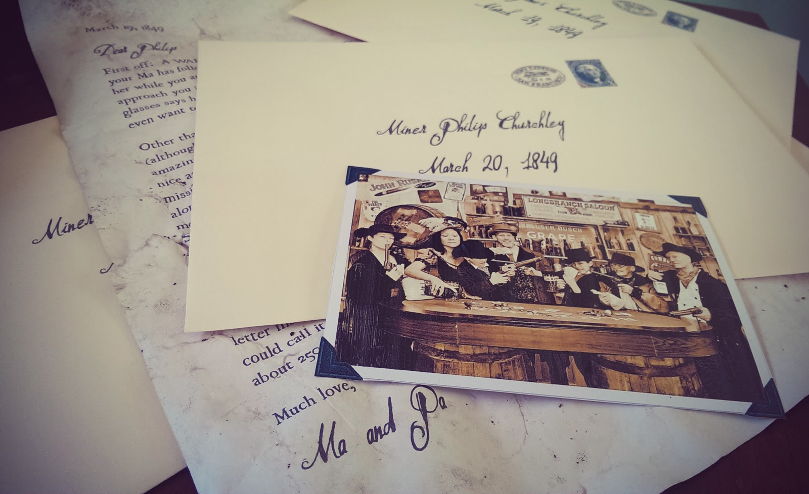 vintage letters and photos at Coloma Outdoor Discovery School