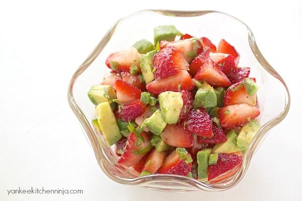 Fresh and fast strawberry avocado salsa