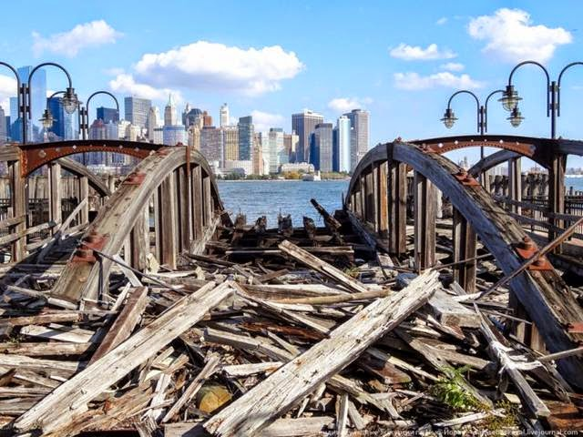Remains of the old docks. They previously were not in the best condition, but Hurricane Sandy has finished their final.