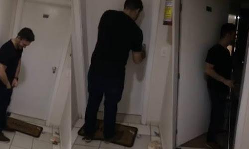 Imbecil bêbado não consegue abrir a porta da própria casa e quando consegue descobre o inesperado