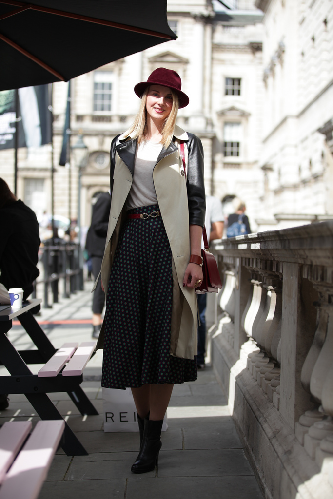 trench coat leather sleeves lfw street style