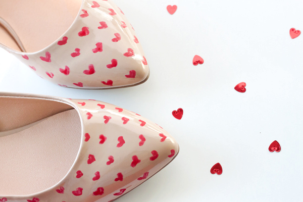Alice + Olivia Inspired Heart Shoes DIY for Valentine's Day