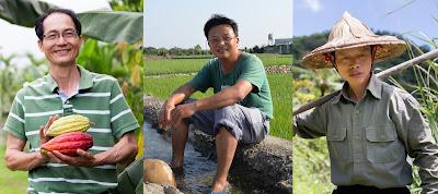 屏東可可農賴錫賢、坪林茶農王有里和大甲芋頭農鄭生旺皆為有機小農,以自身務農專長,呼籲青年回鄉,延續對土地的關懷與熱愛。製圖/楊思敏