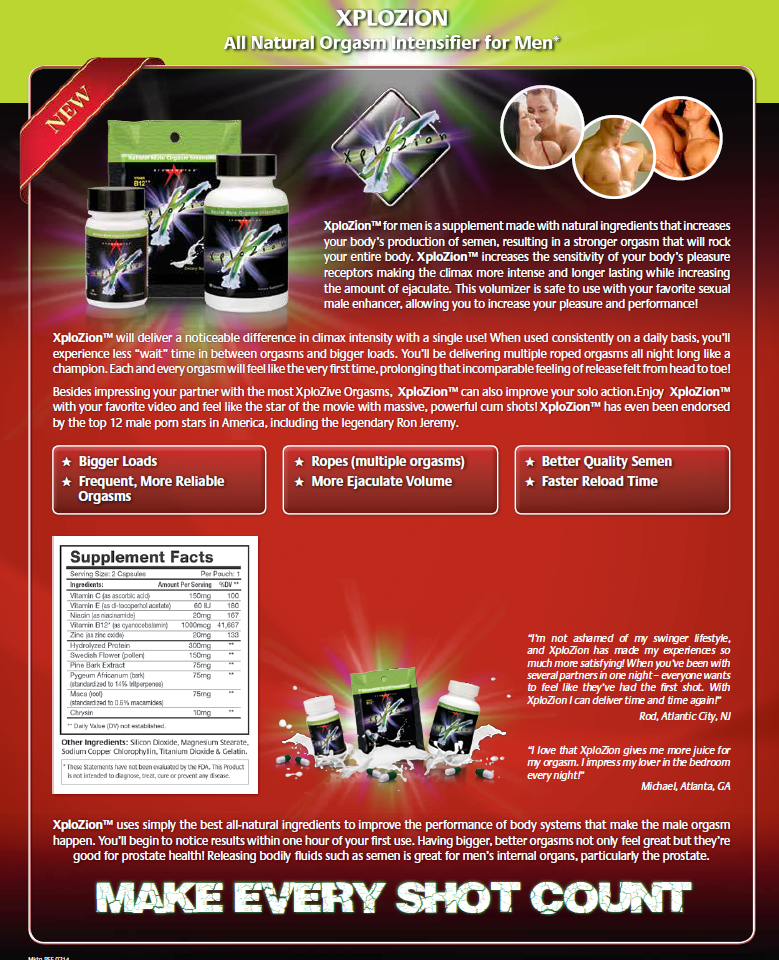 XPloZion Orgasm Intensifier and Ejaculate Volumizer