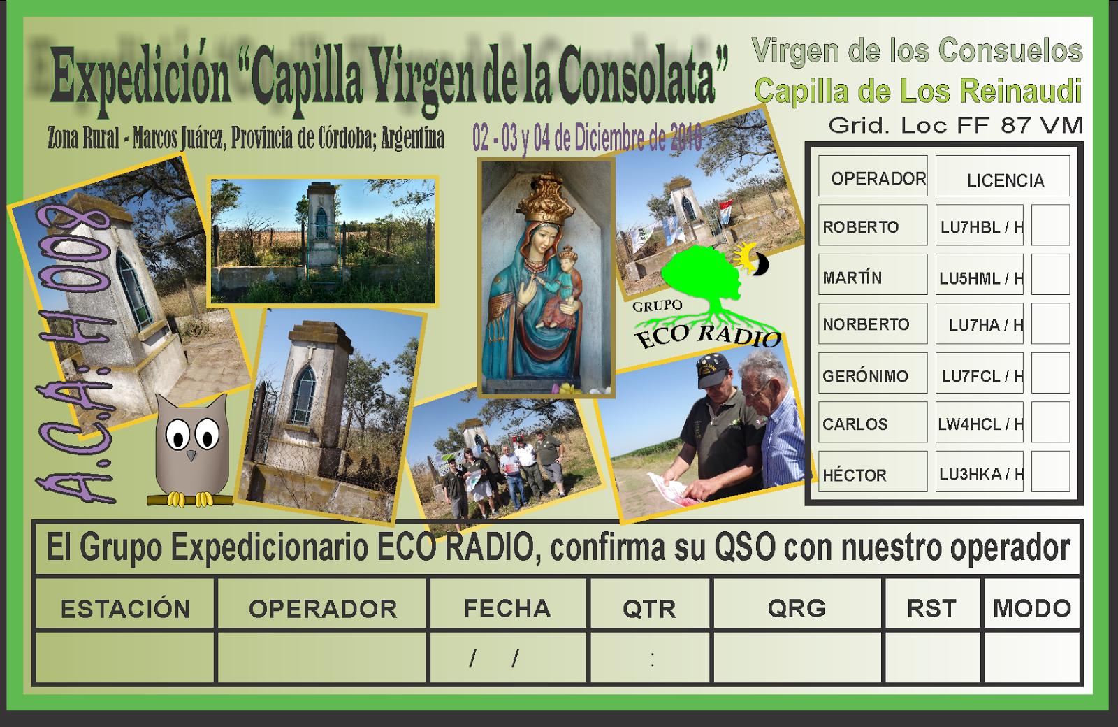 QSL Expedición Capilla de la Consolata