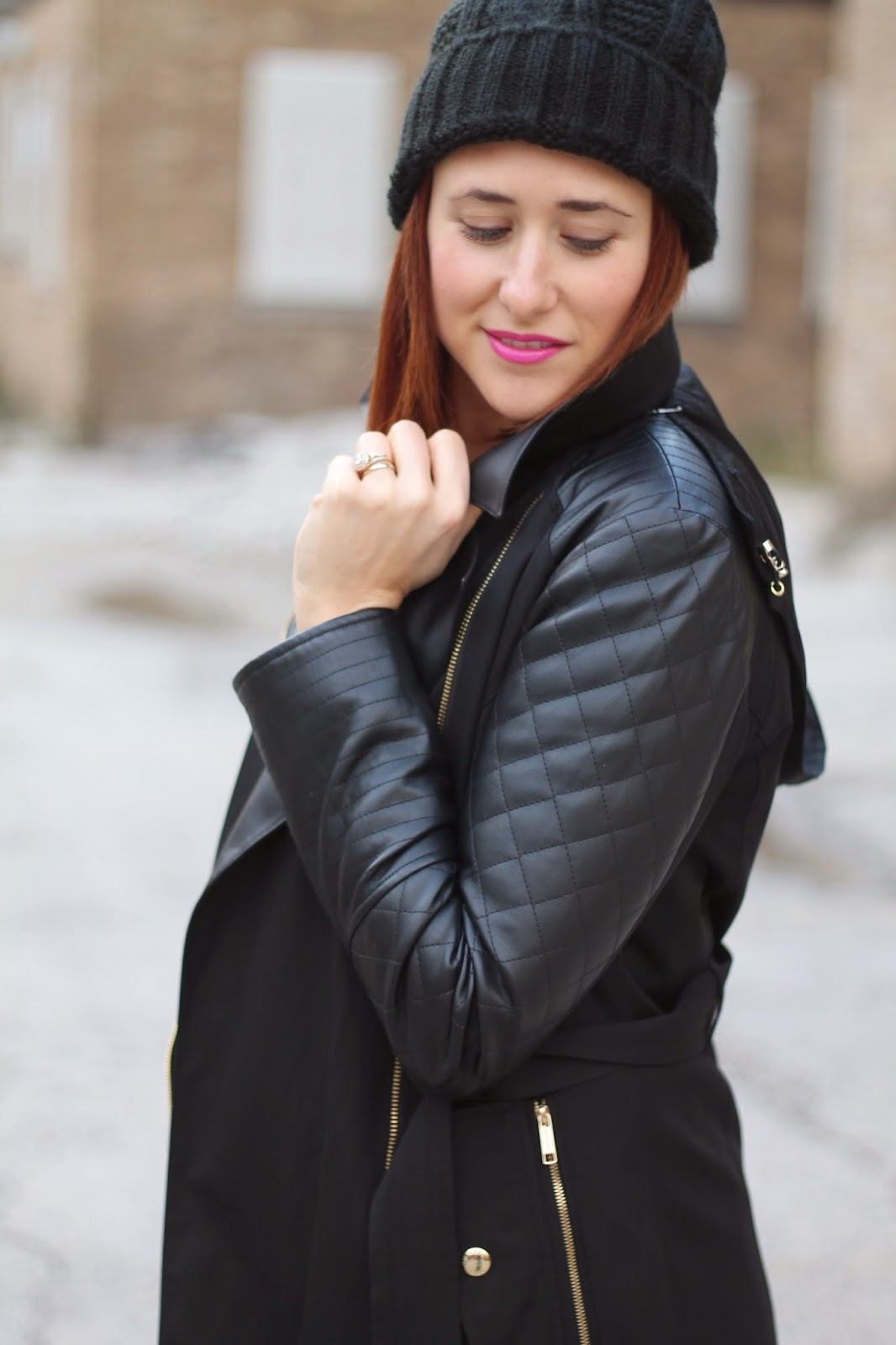 quilted, black leather, jacket