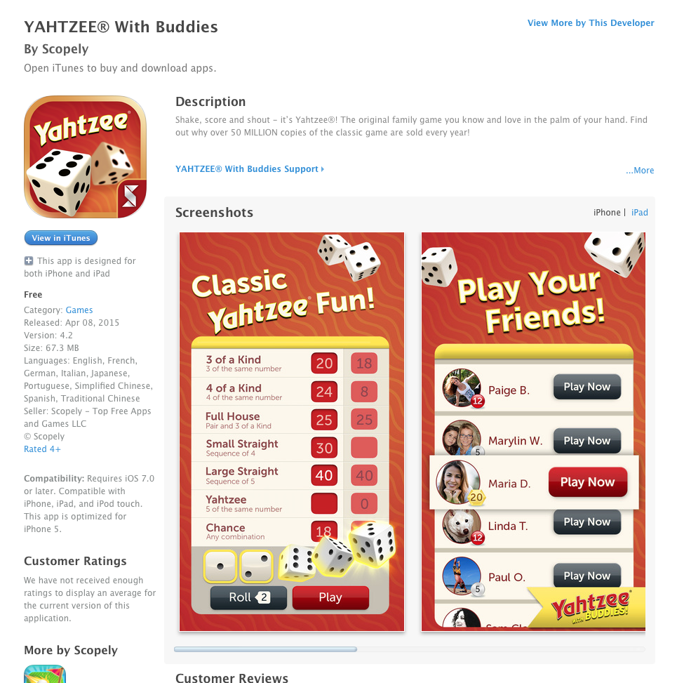 Free iOS and Android App Today YAHTZEE with Buddies   UCET