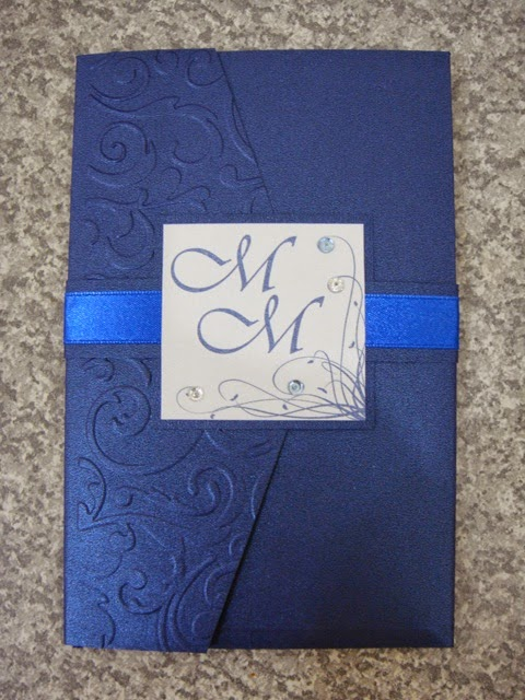 Style UR Party White And Royal Blue Classic Pocket Fold Wedding Invites