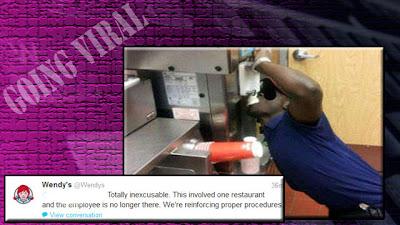 empleado negro comiendo helado de la máquina de wendy's