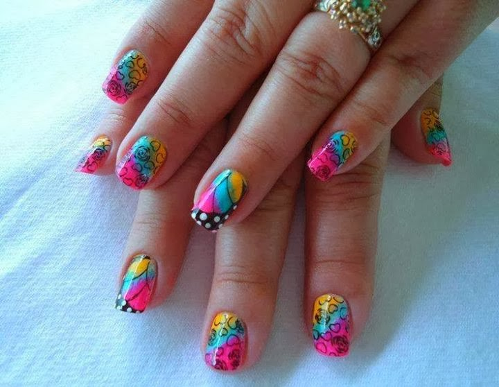 colorful-bright-summer-neon pink-purple-aqua-orange-acrylics-abyss-black penned outline rose-heart LED-polish-manicure-OPI-Nail-Polish-Lacquer-Pedicure-care-natural-healthcare-Gel-Nail-Polish-beauty-Acrylic-Nails-Nail-Art-USA-UK2