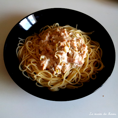 Illustration des spaghettis poireau & saumon fumé