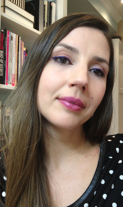 "Pantone Color of the Year ""Radiant Orchid""  Lancome art liner Amethyst, YSL glossy lips violin out of control, Tarte blush fantastic and Elizabeth Arden golden orchid"