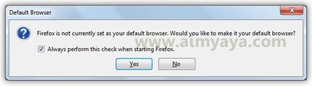 Gambar: Dialog konfirmasi pengecekan mozilla firefox sebagai default browser di komputer/laptop saat startup