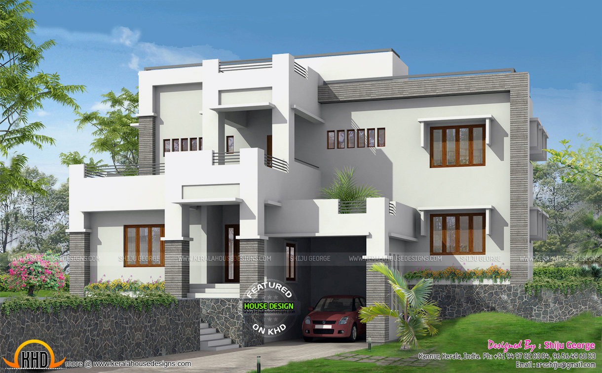 G 1 modern home elevation 2995 sq ft kerala home for Home and land design