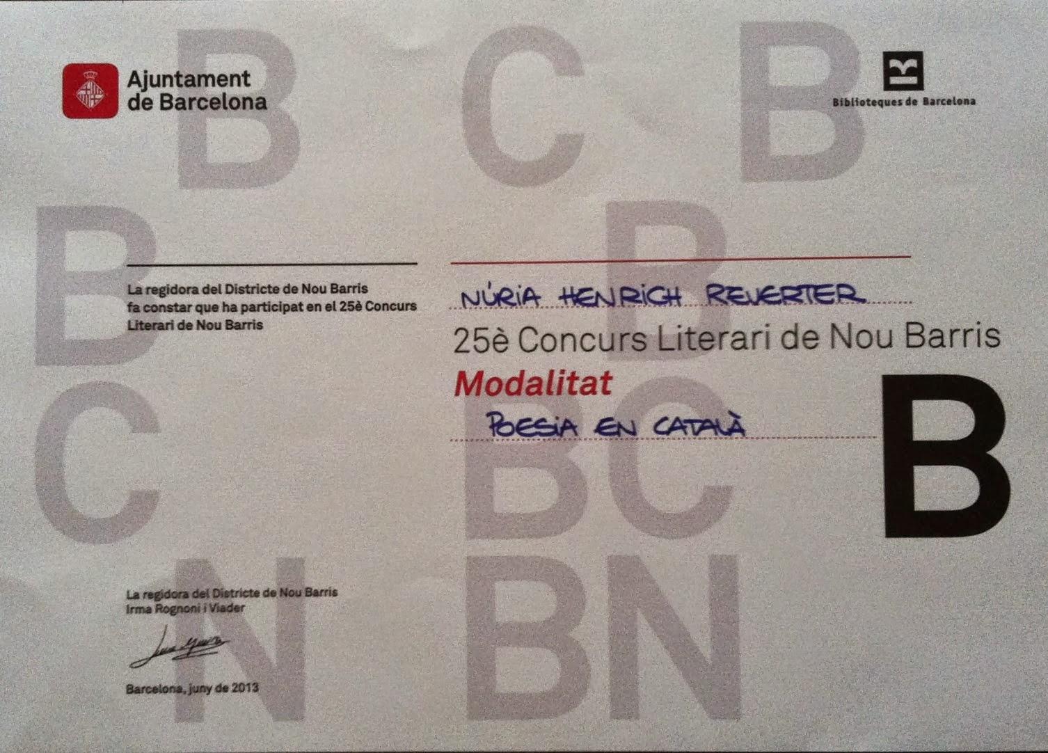 1er PREMI 25è Concurs Literari Nou Barris