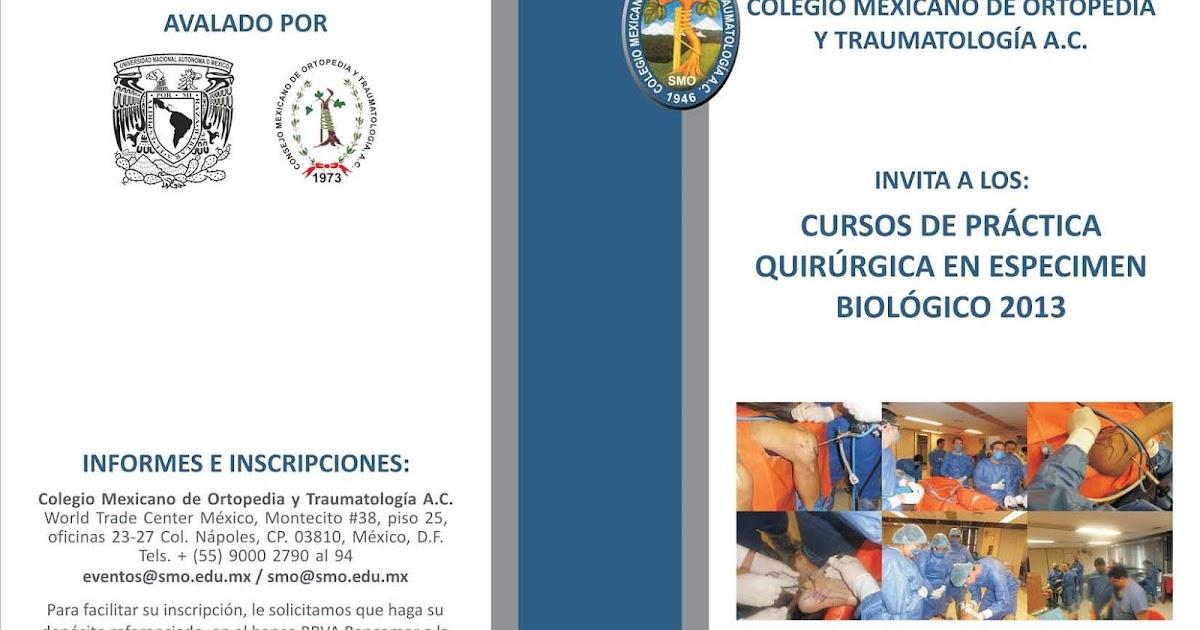 Colegio mexicano de ortopedia y traumatolog a cursos en for W de porter ortopedia