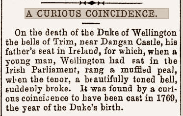 Newspaper cutting from 1879 about Duke of Wellington