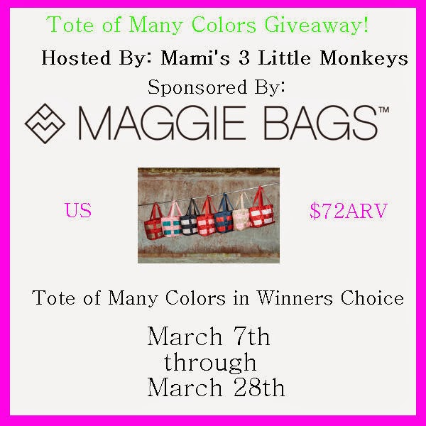 Enter to win the Maggie Bags TMC Giveaway. Ends 3/28.