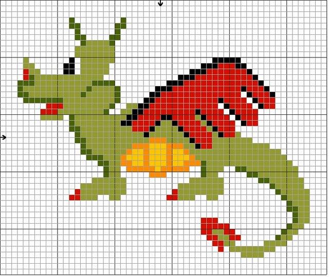 Схемы для вышивки крестом - Крылатый дракон.  Для скачивания нажмите на ссылку под рисунком. ex torrents.ru)...