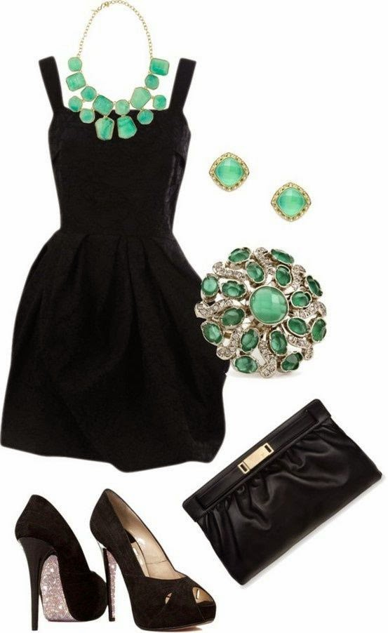 Black Dress With High-heels Shoes And Jewelry