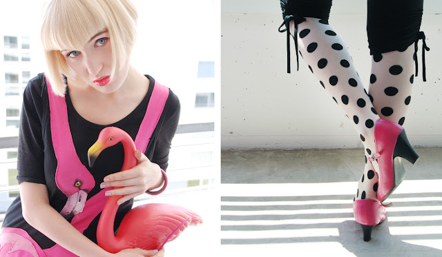 girl with flamingo, polka dot tights, pink shoes, garden flamingo