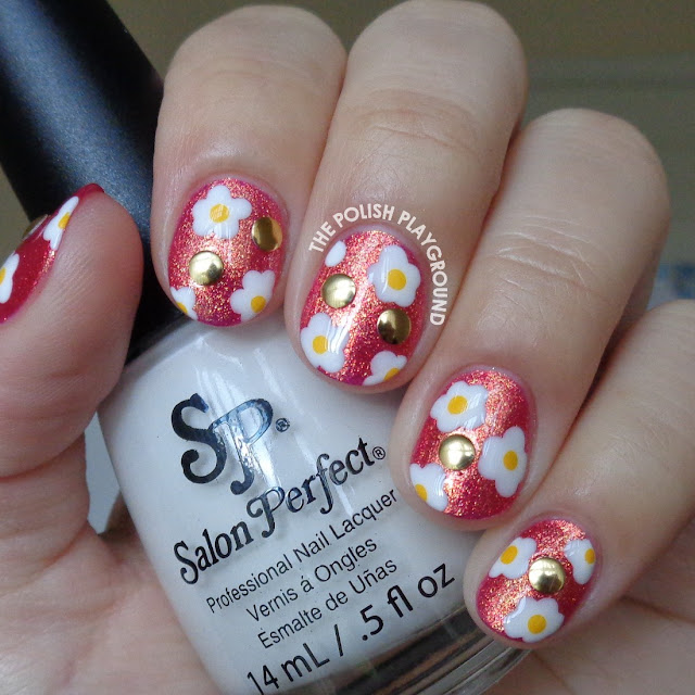 White and Yellow Flowers with Studs Nail Art
